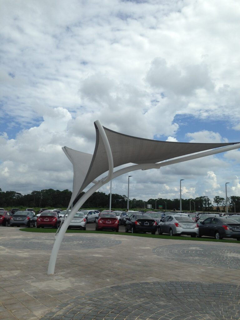 image of shade structure in front of a toyota dealership