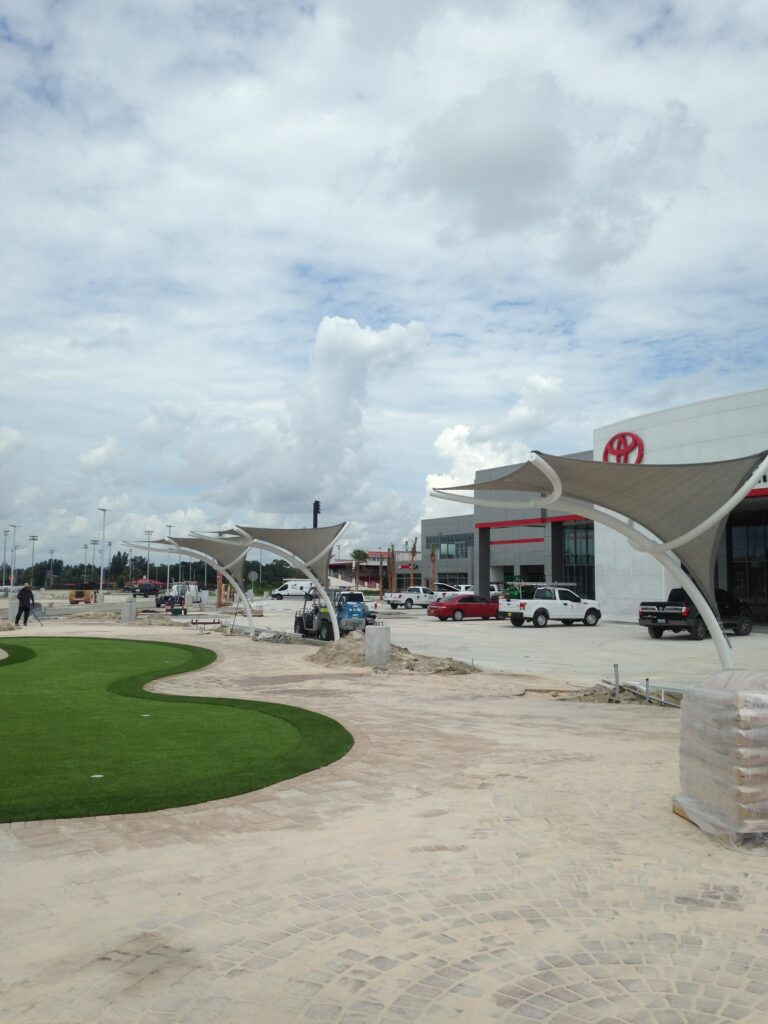 image of shade structure progress in front of a toyota dealership