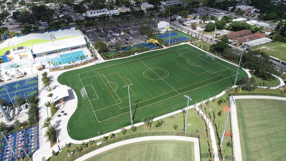 aerial image of finished turf soccer field