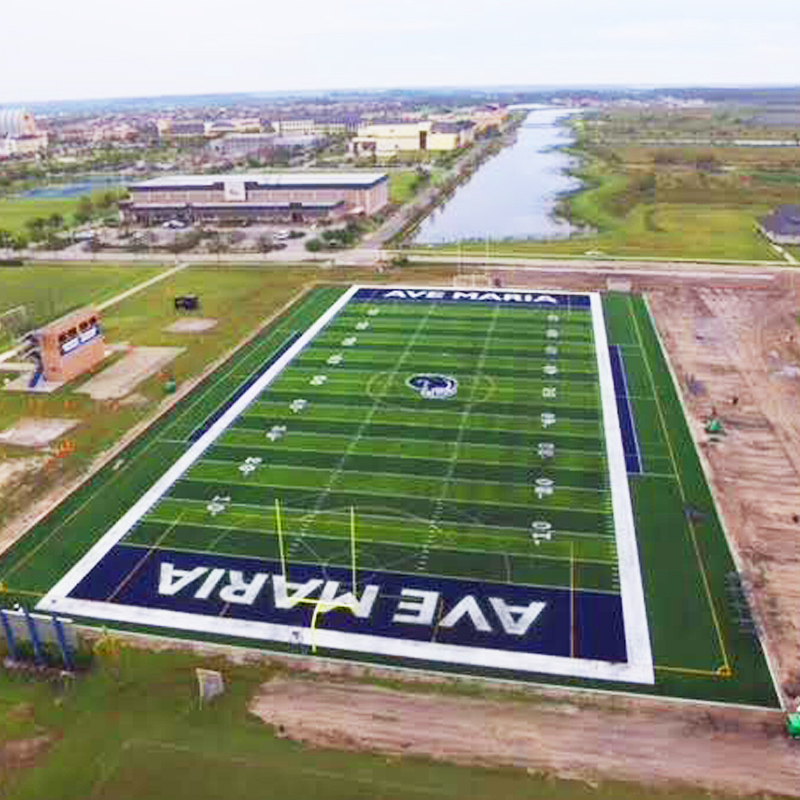 aerial image of outdoor synthetic turf football field