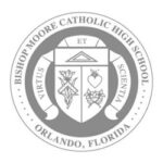 Bishop Moore Christian High School logo grayscale