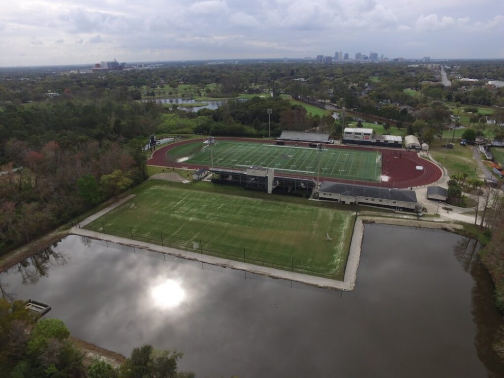 aerial image after work performed on lacrosse field, green and playable field