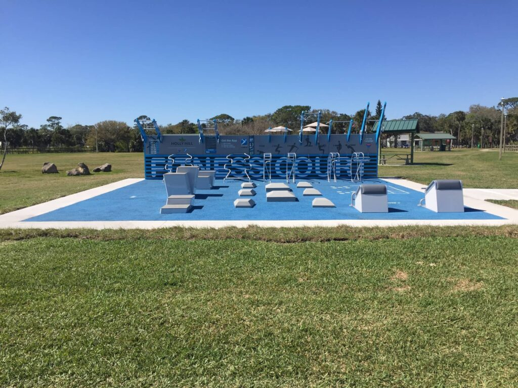 image of blue outdoor fitness center with equipment
