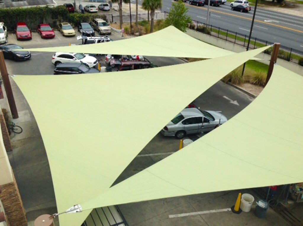 aerial image of shade structure over parked cars