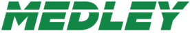 Medley Sports Construction logo, green and white font