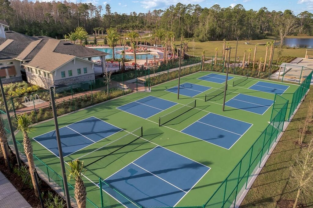aerial image of pickleball courts