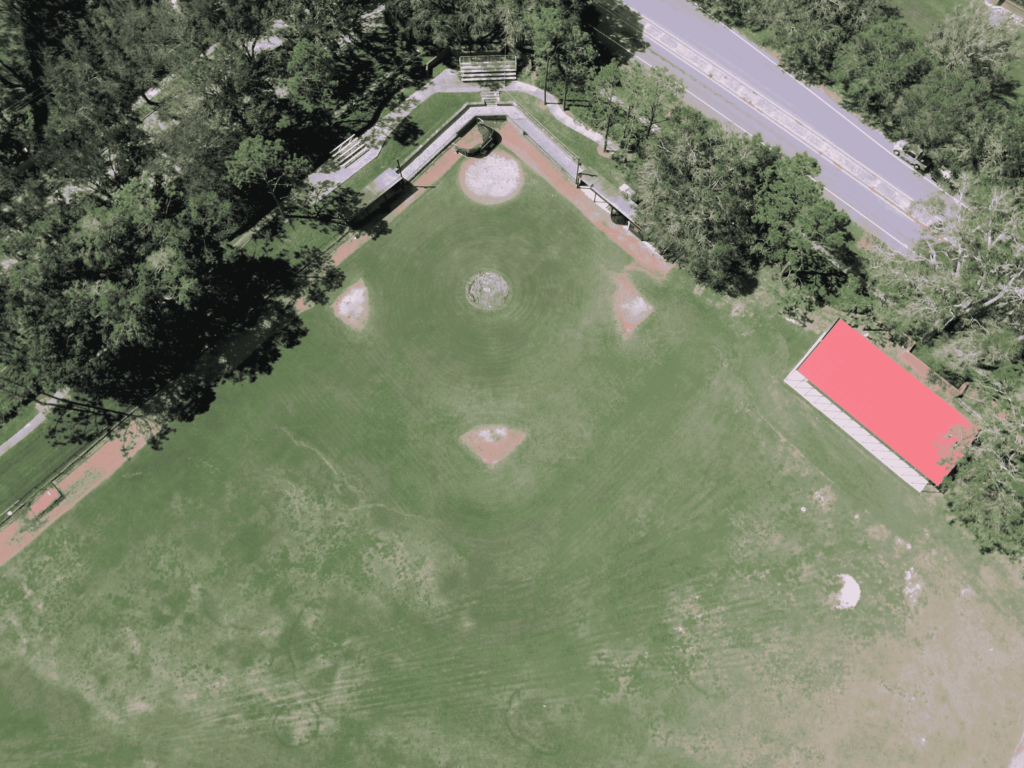 aerial image of baseball infield prior to turf installation