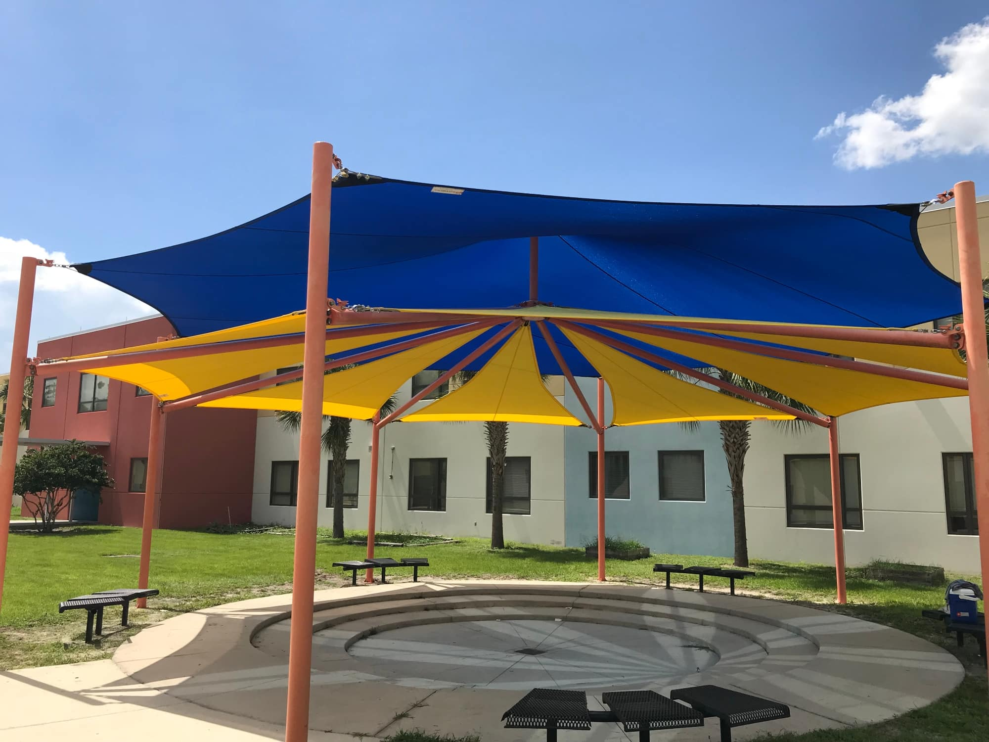 image of shade structure covering seating area