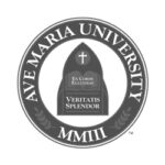 Ave Maria University logo grayscale