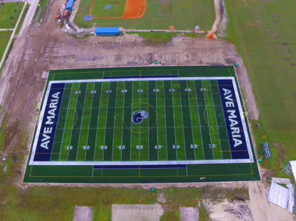 aerial shot of new turf installation for football field