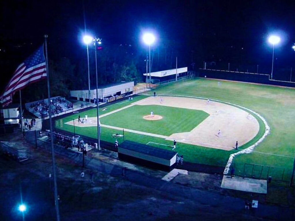 aerial image of baseball game being played on new turf and field