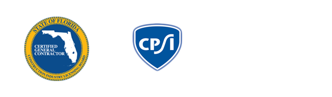 State of Florida Certified General Contractor, CPSI, and OSHA logos