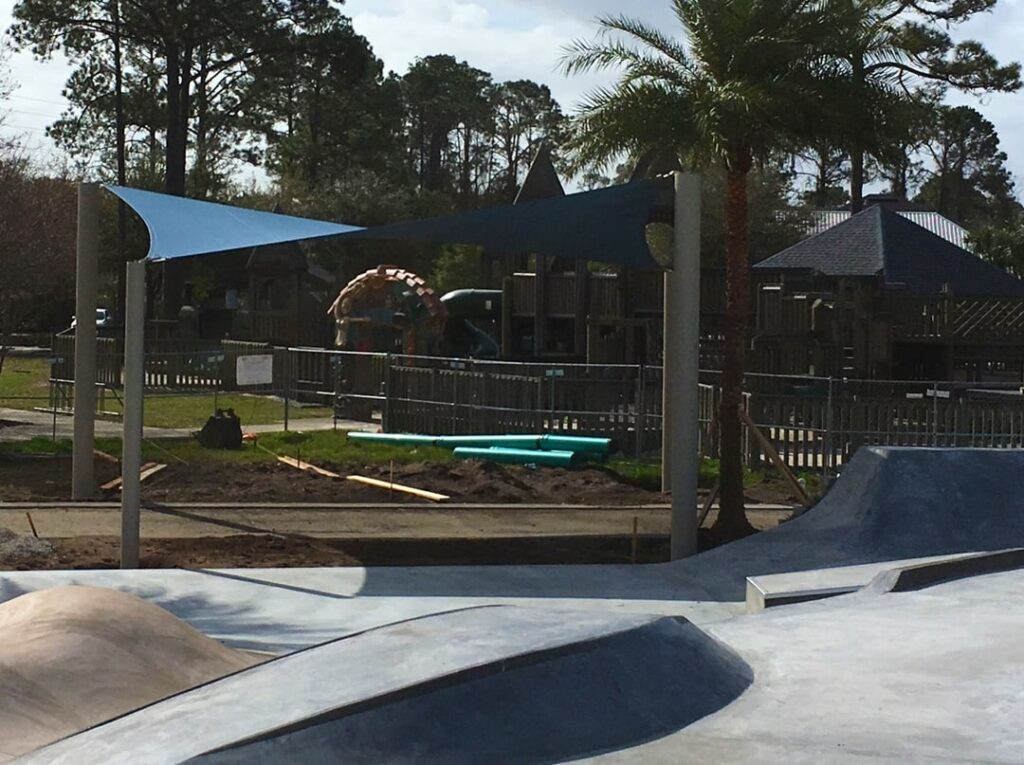 image of shade structures on edge of skatepark