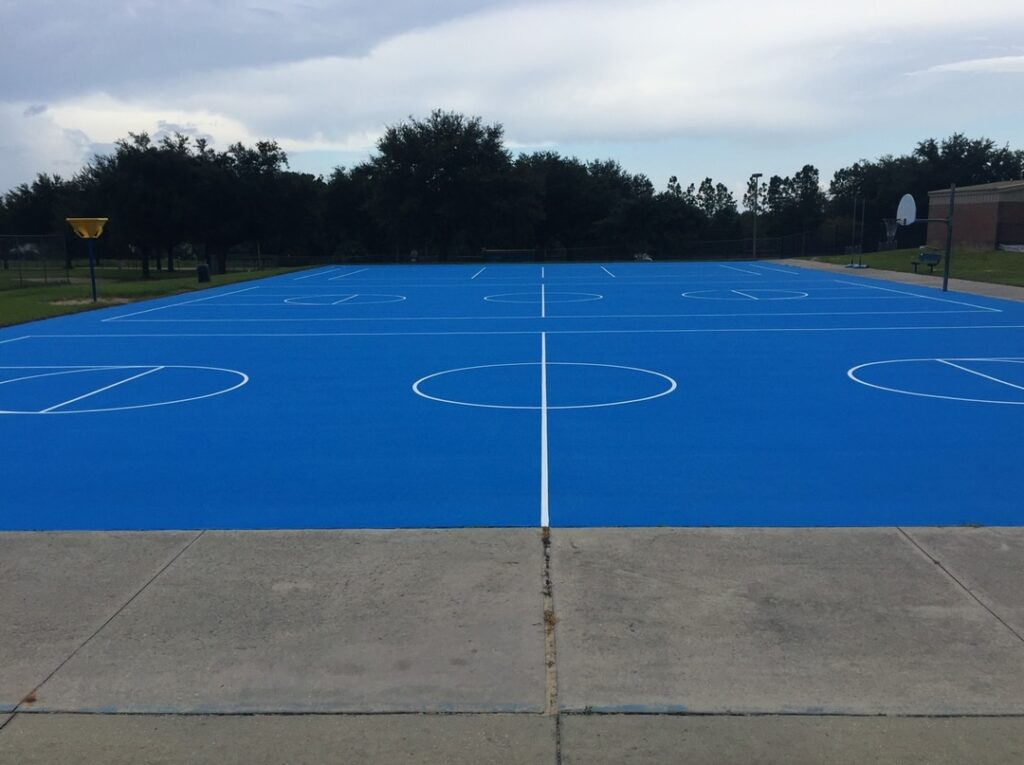 image of bright blue, new basketball court