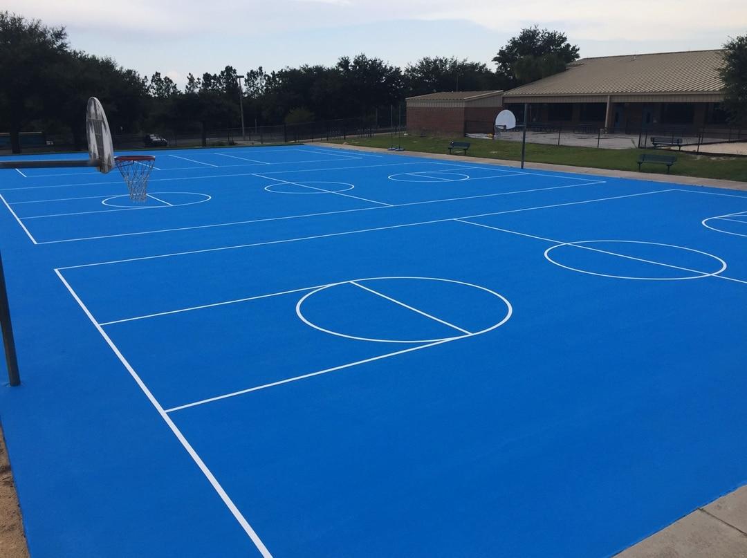 blue basketball court resurfaced