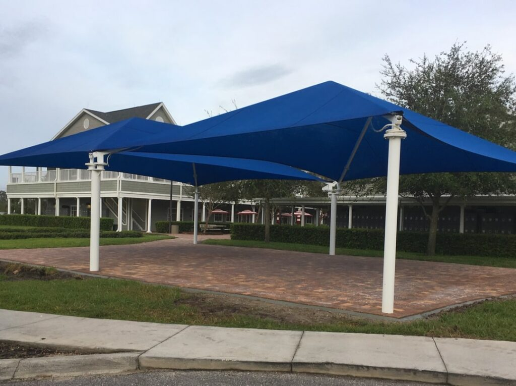image of two shade structures above common area at school campus