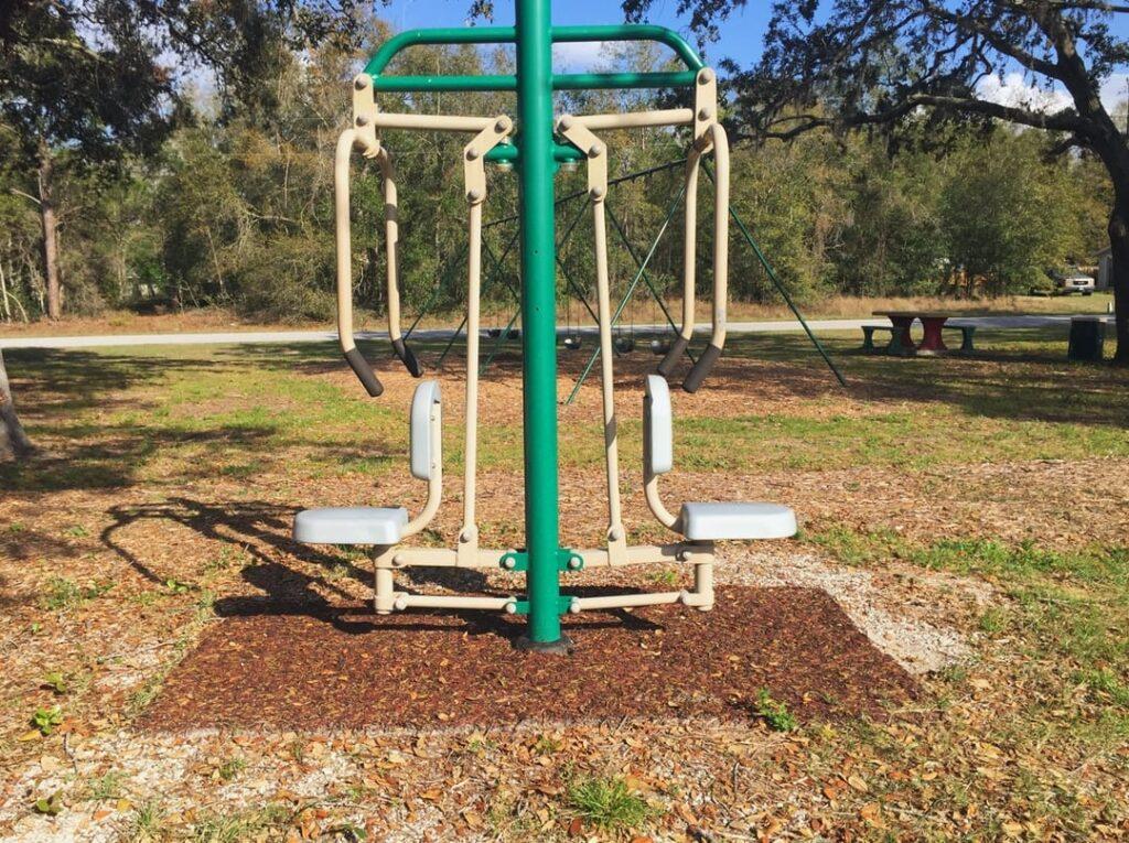 image of swing set on newly installed playground equipment