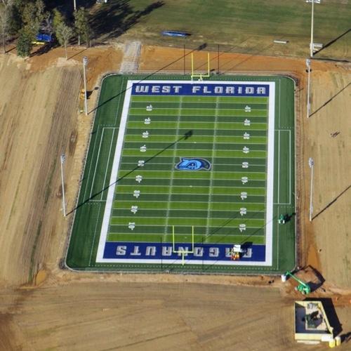 aerial image of university football field