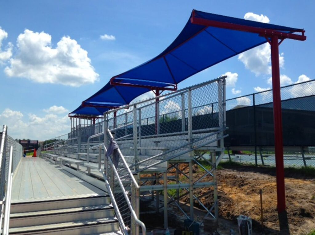 image of shade structure erected over bleachers