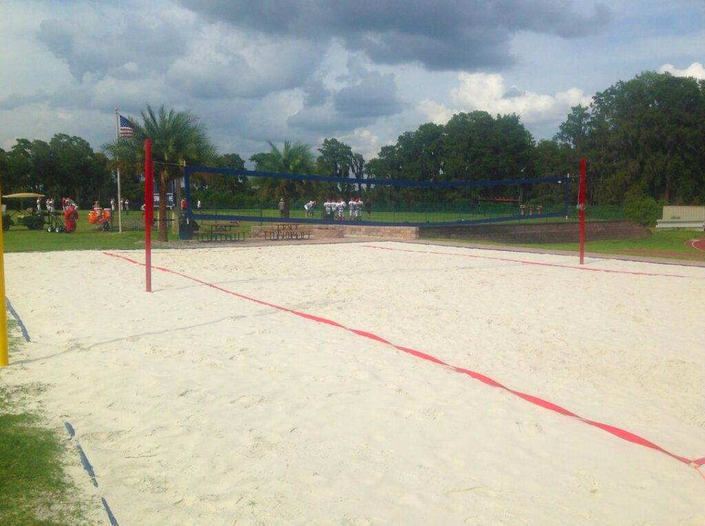 image of sand volleyball area with net