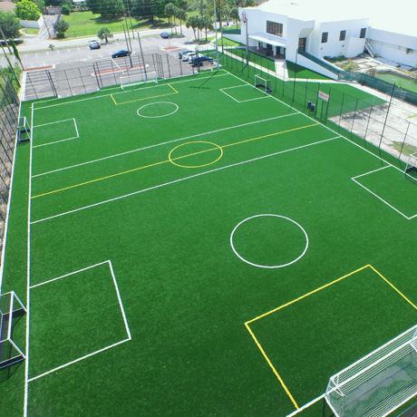 aerial image of outdoor synthetic turf soccer field