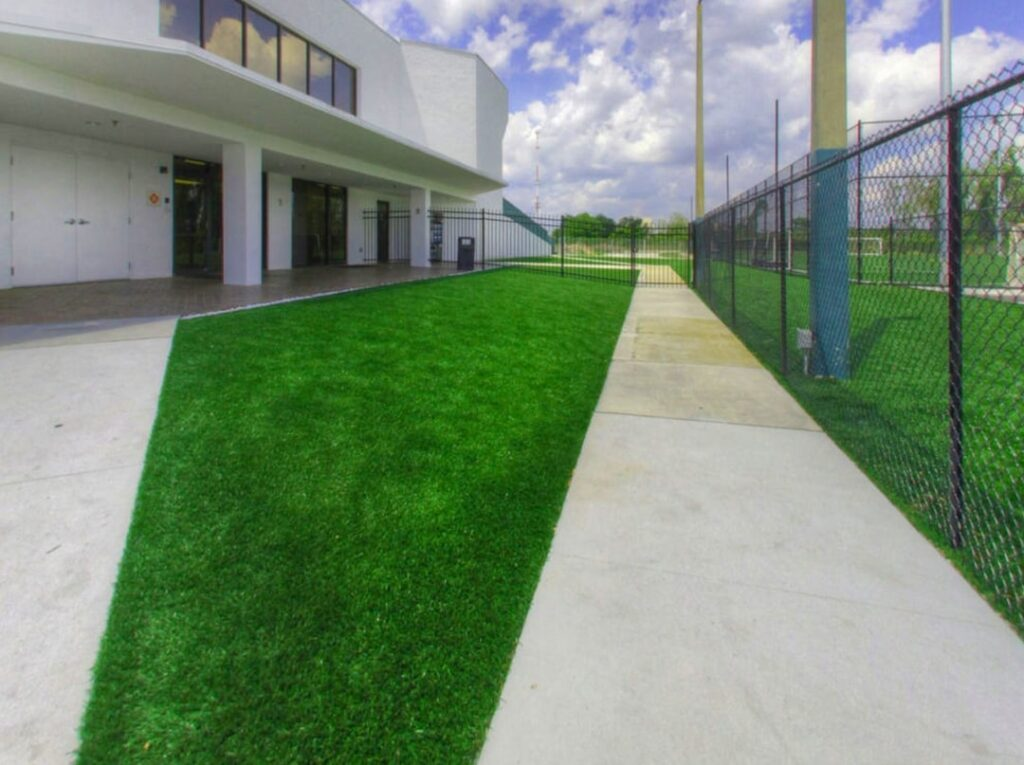 image of fresh turf installation within a common area on campus