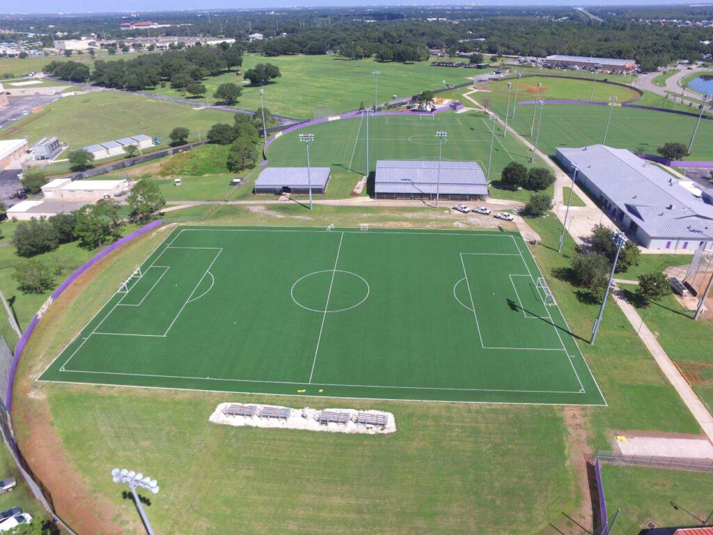 aerial image of orlando city turf soccer field