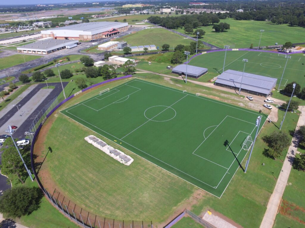 aerial image of orlando city turf soccer field