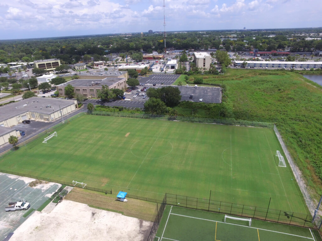 aerial image of outdoor natural grass turf soccer field