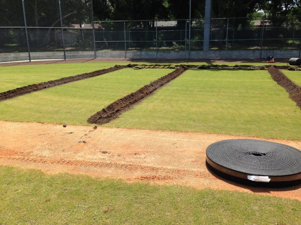 image of drainage lines on baseball field