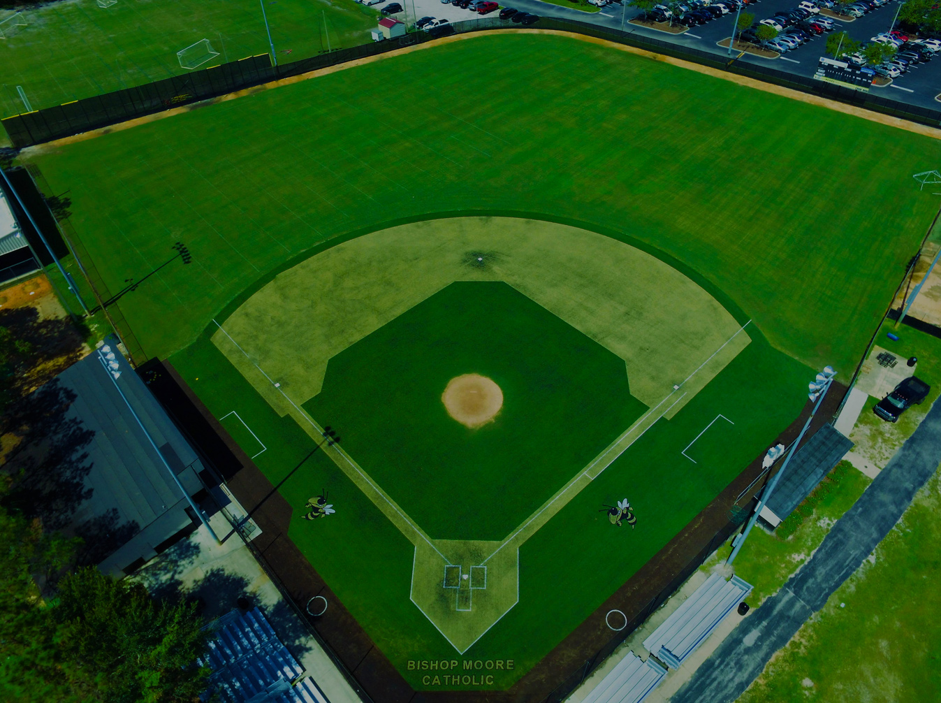 aerial image of finished turf baseball field