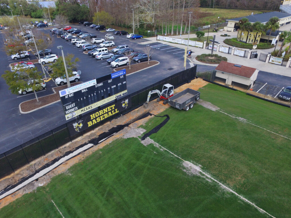 aerial image of progress work on turf baseball field