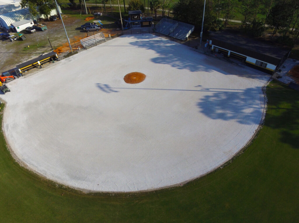 aerial image of progress on turf baseball field