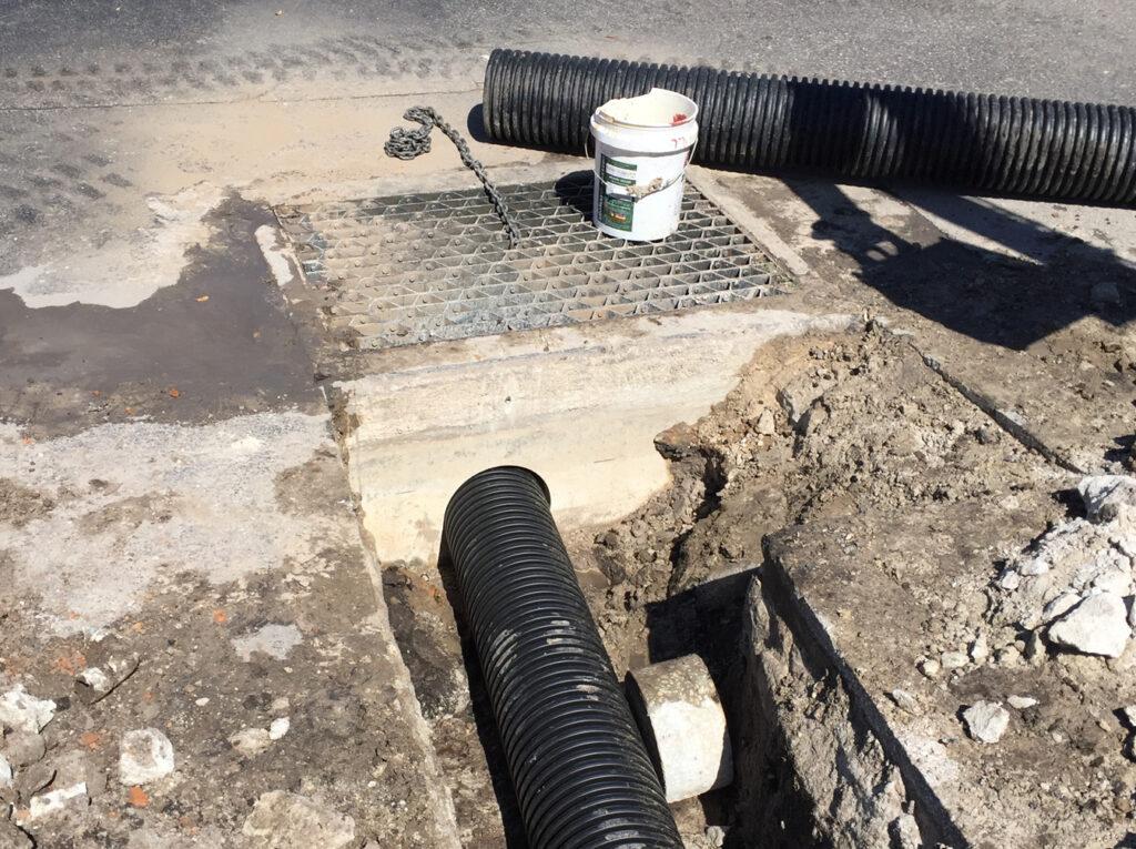 up close image of drainage area