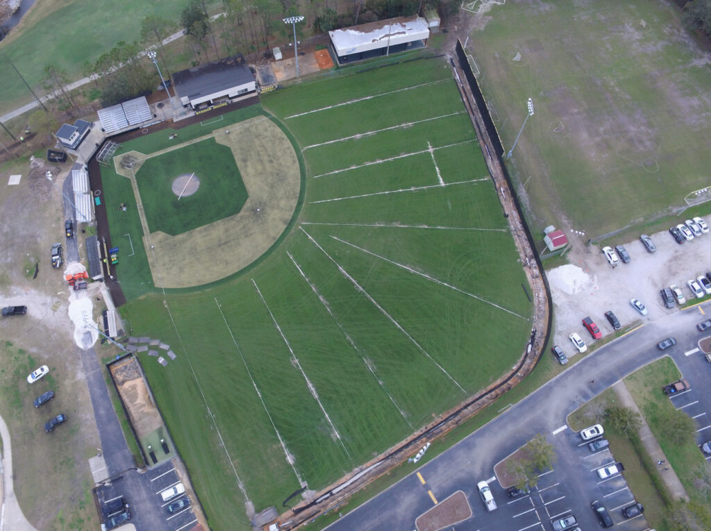 aerial image of drainage lines on baseball field