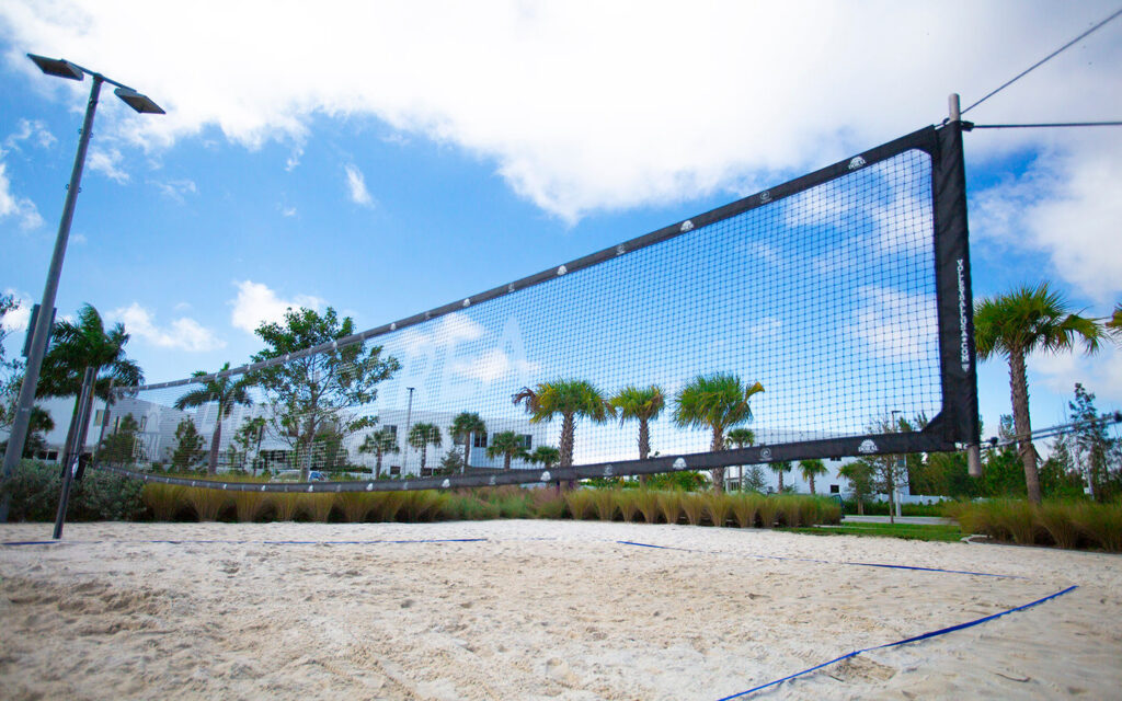 image of sand volleyball court up close