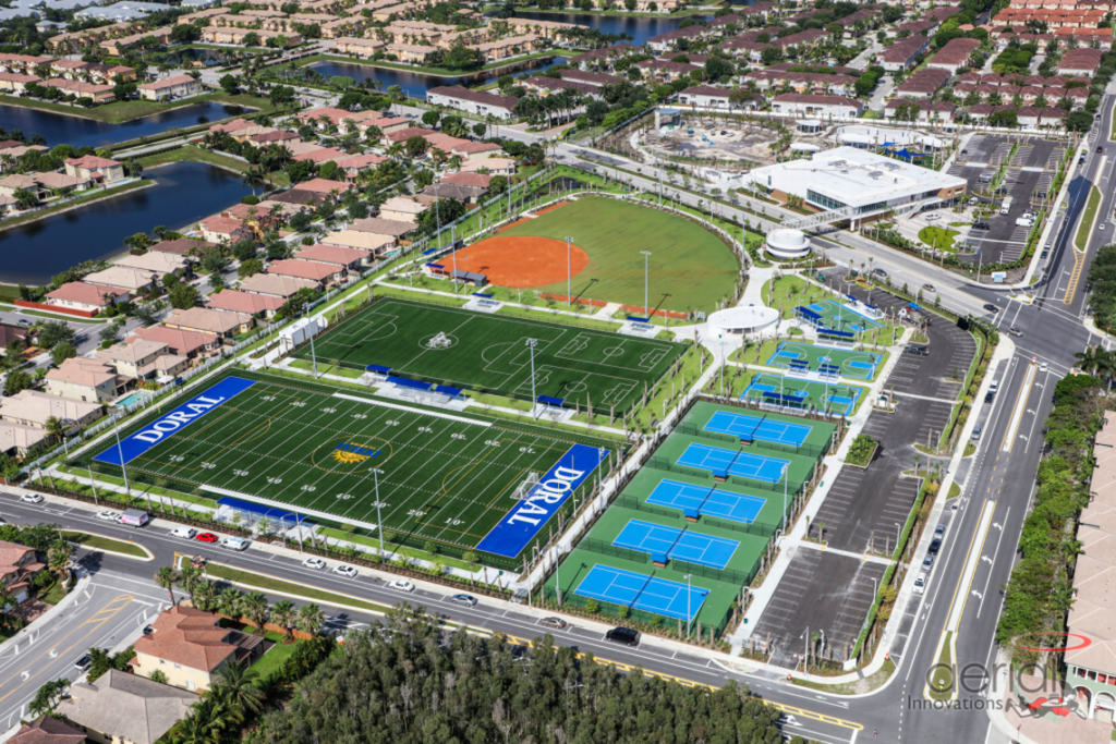 aerial image of the fields at Legacy Park