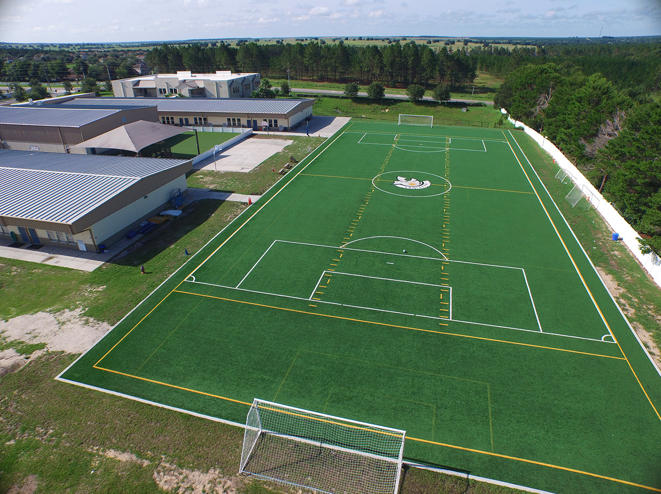aerial image of turf soccer field