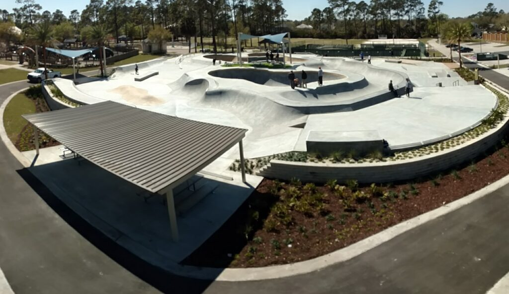 image of finished skate park with shaded pavilion