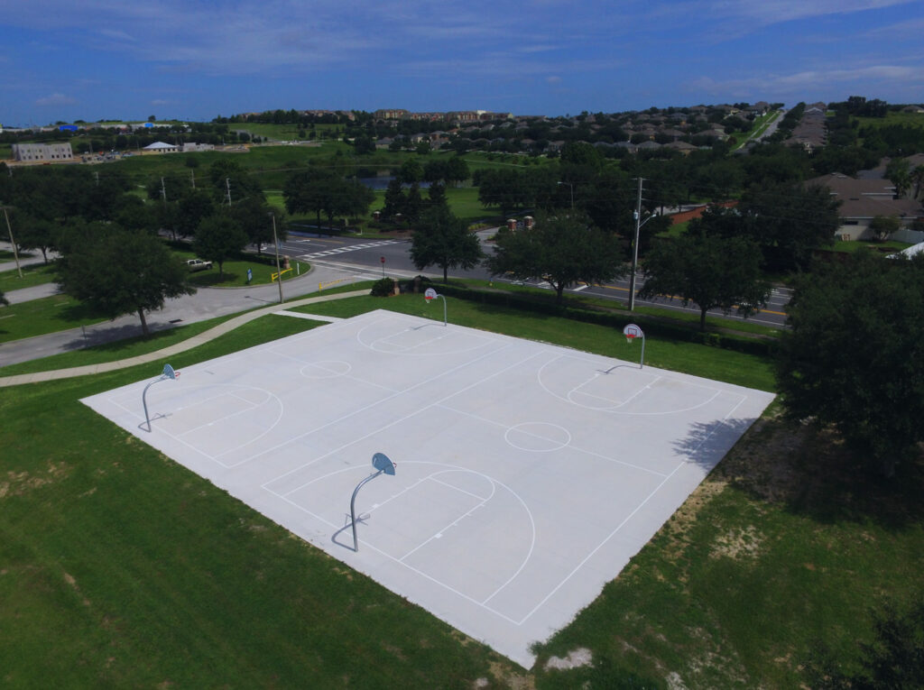 aerial image of resurfaced basketball courts
