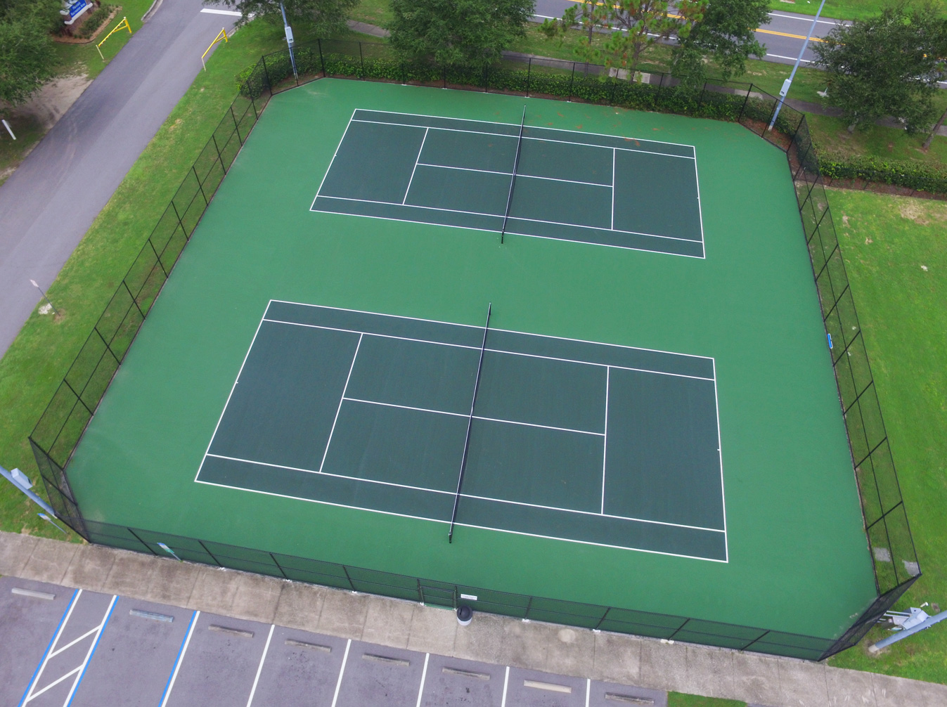 aerial image of resurfaced tennis courts