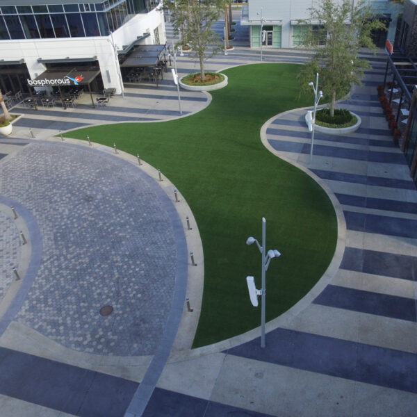 image of finished turf field in town center common area