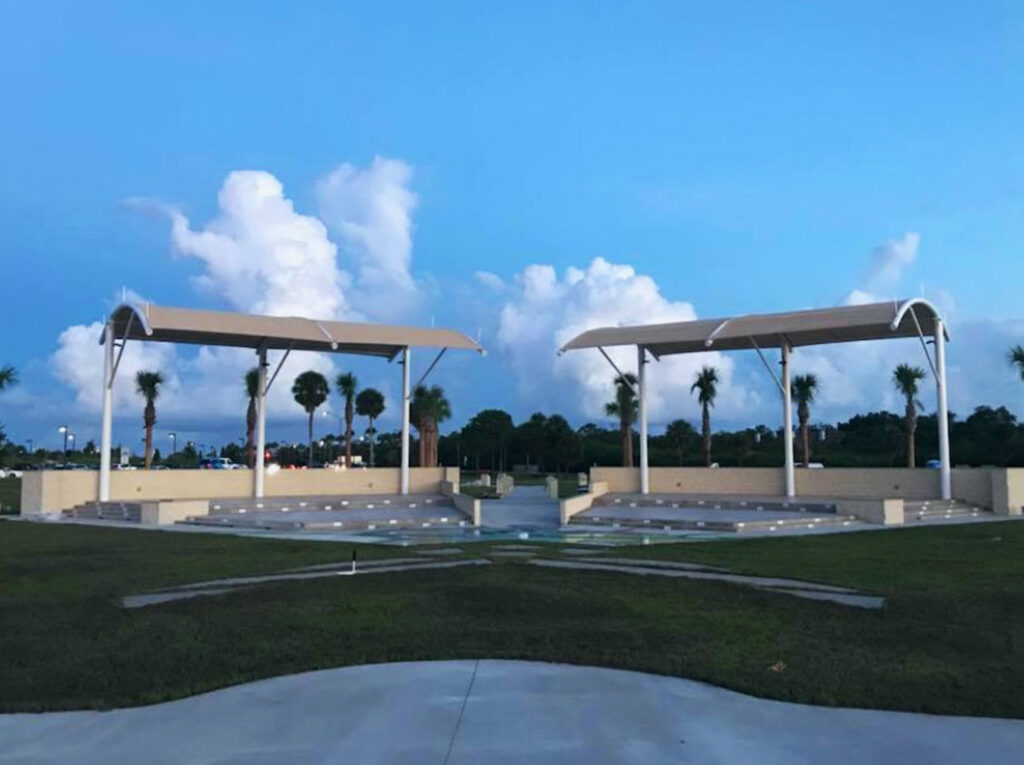 image of shade structure over memorial park at macdill airforce base