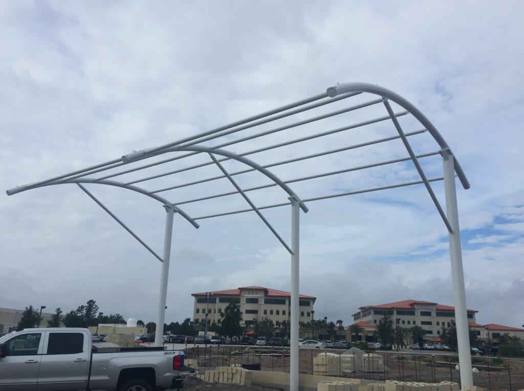 image of shade structure in progress without covering