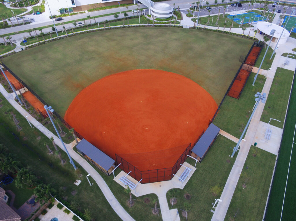 aerial image of original clay and grass baseball infield