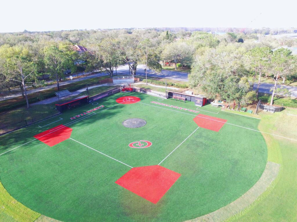 aerial image of turf baseball field for orangewood christian school