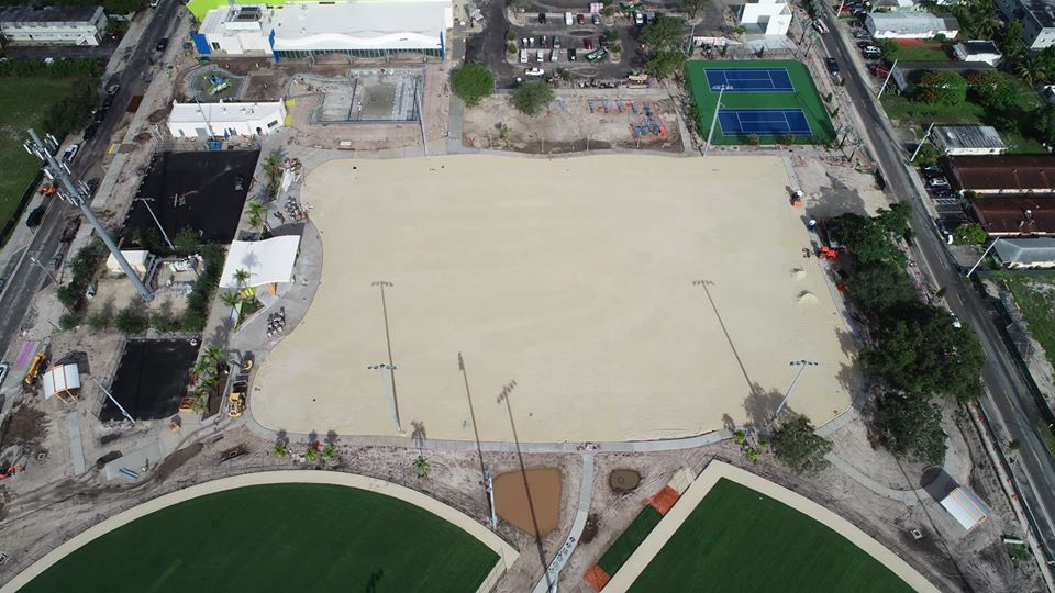 aerial image of sand lot before turning in to a turf field