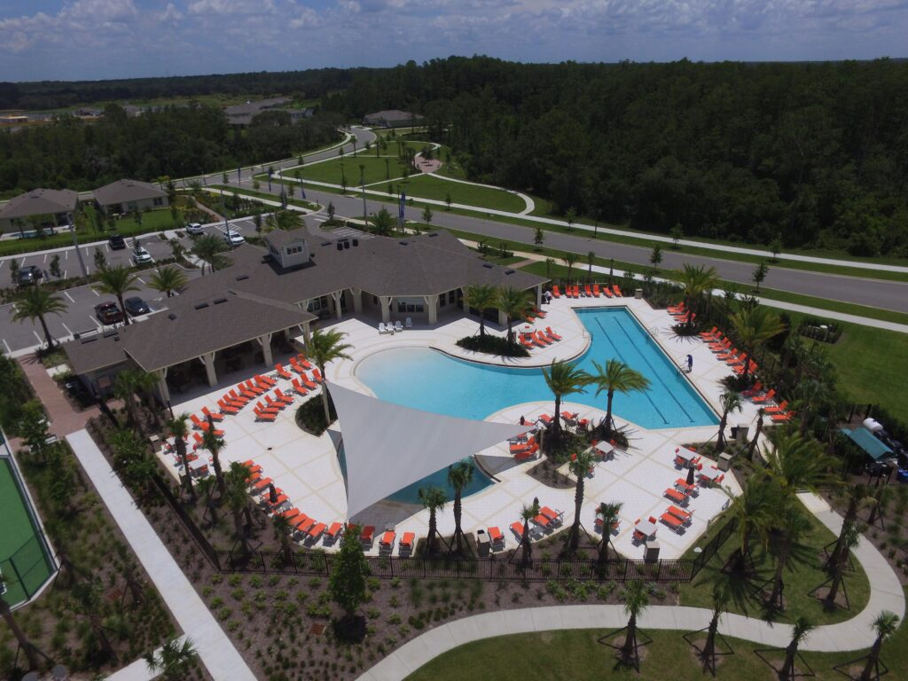 aerial of shade structure over pool deck