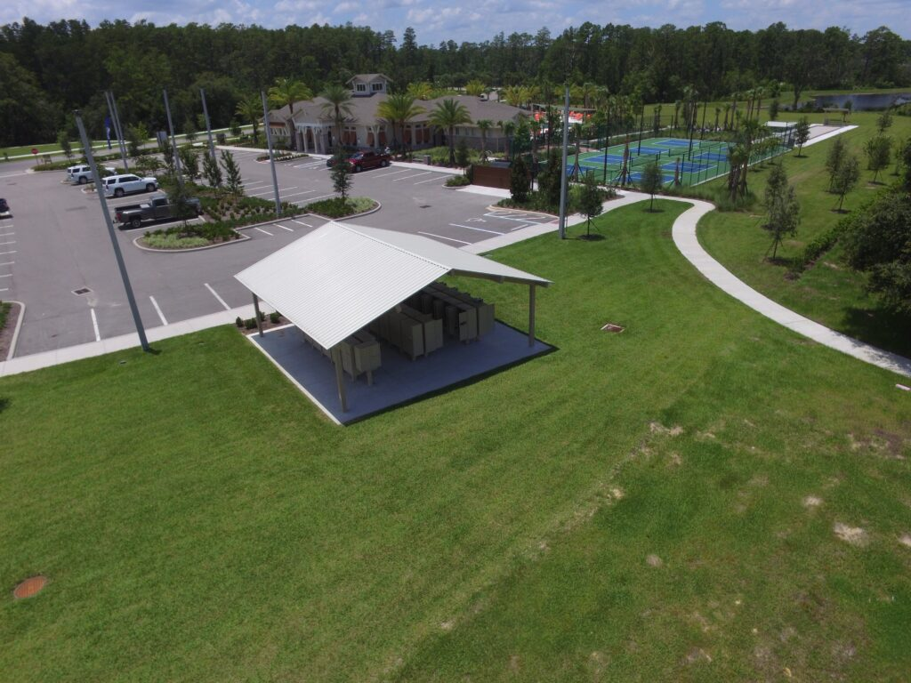 aerial image of shade structure covering mailbox area