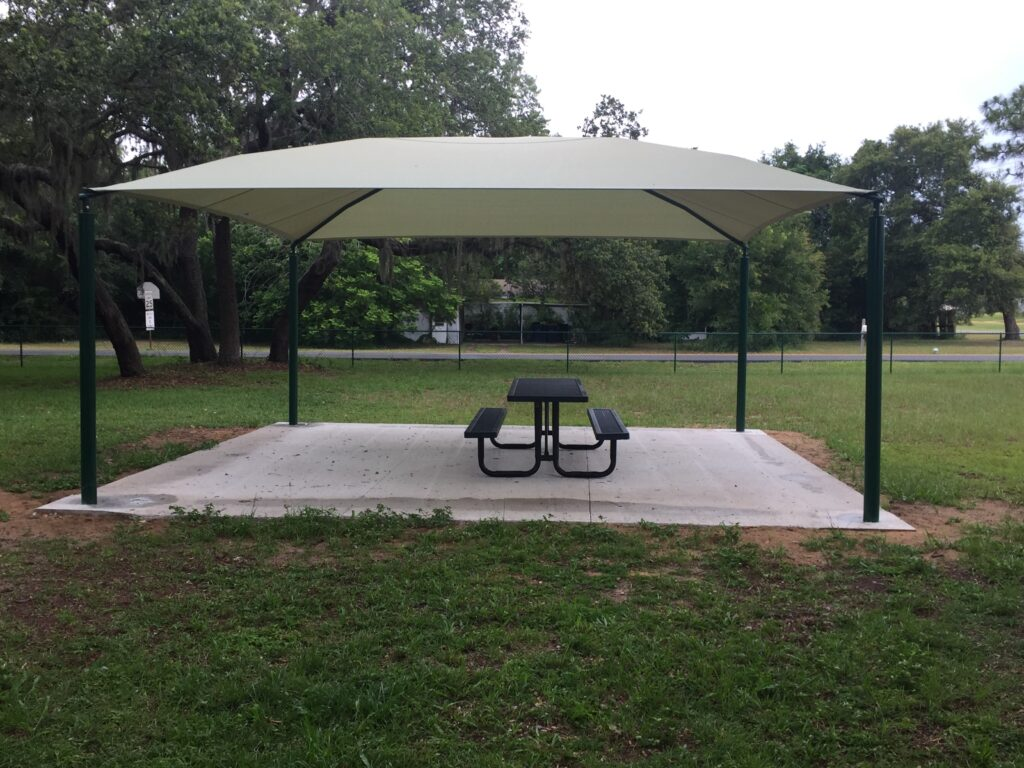 image of shade structure over picnic table area